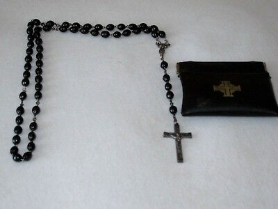 DARK BROWN/BLACK WOOD? BEADS ROSARY STAMPED ITALY ON THE BACK OF THE CROSS Back Black Brown Wood