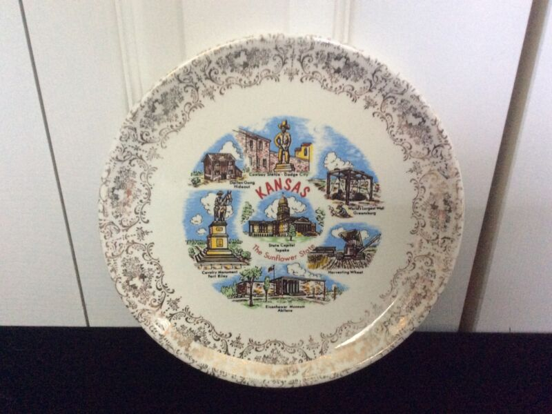 Vintage Collectible Kansas - The Sunflower State Souvenir Plate 9 In.