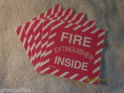 Lot Of-5 Fire Extinguisher Inside Self-adhesive Vinyl Signs...4 X 4 New