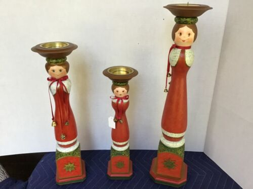 Kathe Wolfahrt Set of 3 Wooden Christmas Candle Holders Made in Germany