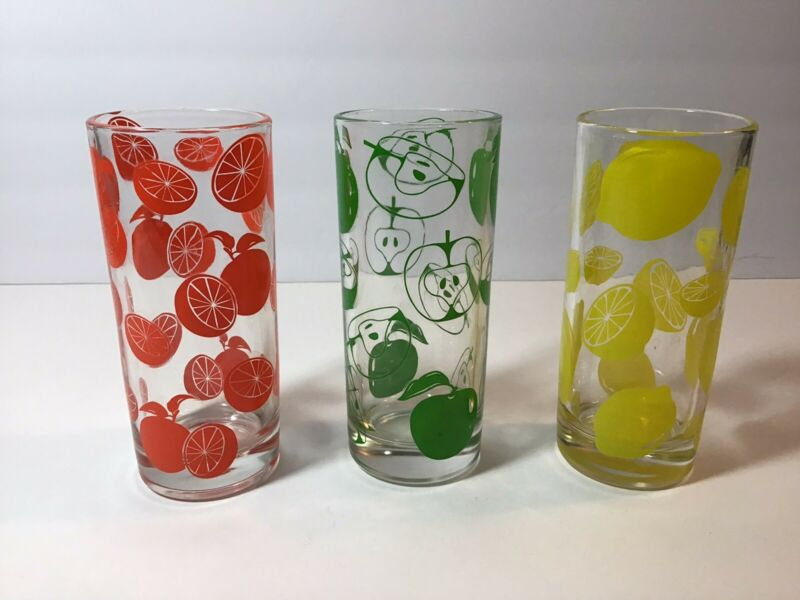 Vintage Fruit Drinking Glasses
