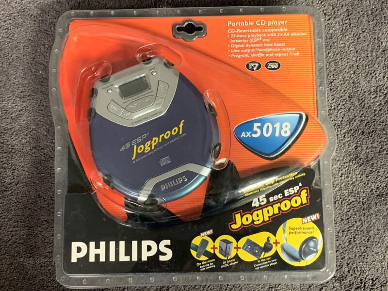 Brand New Phillips Jogproof CD Player Headphones & Charger Bundle AX-5018 Sealed