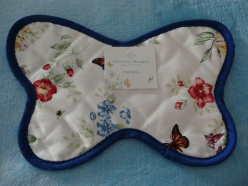 """Lenox Butterfly Meadow Collection Pot Rest/Holder-8"""" X 12""""-100% Cotton-New"""