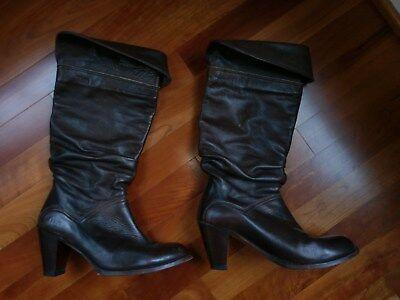 $450 FRYE Dorado Slouch Boot Dark Brown Goodyear Welt Leather Heel Cuff Fold 10
