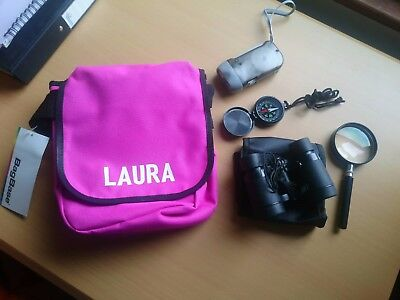 Kids Personalized LAURA Pink Adventure Bag With Items Shown In Photo