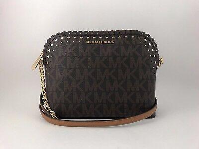 NWT MICHAEL KORS Violet PVC Brown/Pale Gold Signature Cindy Dome Crossbody Bag