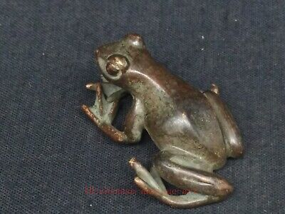 Antique Collection Chinese Bronze Carving Frog Statue Pendant or Paperweight