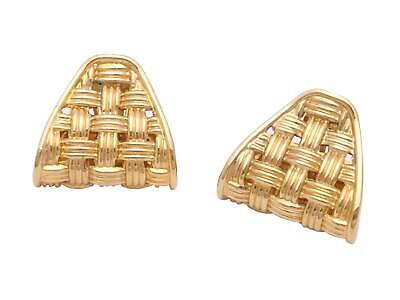 Auth Gucci Vintage Woven Clip-on Earrings Goldtone - e46589