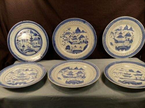"""Lot of 6 Antique Chinese Blue Canton Dinner Plates - 10"""" Wide"""
