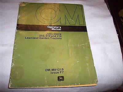 Original John Deere 210 212 214 Lawn Tractor Operator's Manual