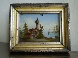 Fixe sous verre ancien xix s peinture miniature paysage romantique cadre dore - Fixe sous verre ancien ...