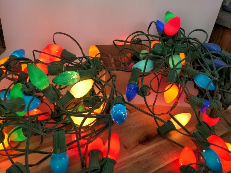 Vintage Christmas Lights rainbow indoor outdoor 4 strands 10 feet per