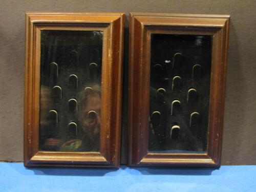 """TWO Unique!! 10 Count Glass Front Thimble cases.  Wood frames 9 3/4 """" by 6 1/4"""""""