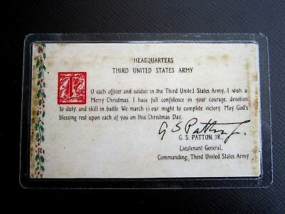"GEN. PATTON'S ""BATTLE OF THE BULGE"" PRAYER CARD FOR 1944 - WWII with AUTOGRAPH"