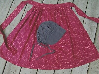 New Girls Colonial Pioneer Prairie Western costume Apron Bonnet w/o