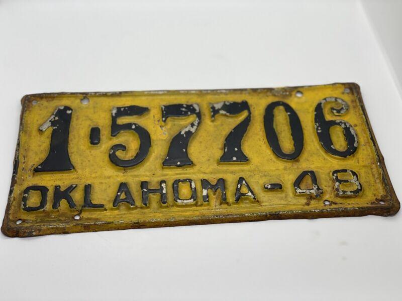 1948 Oklahoma Car tag yellow