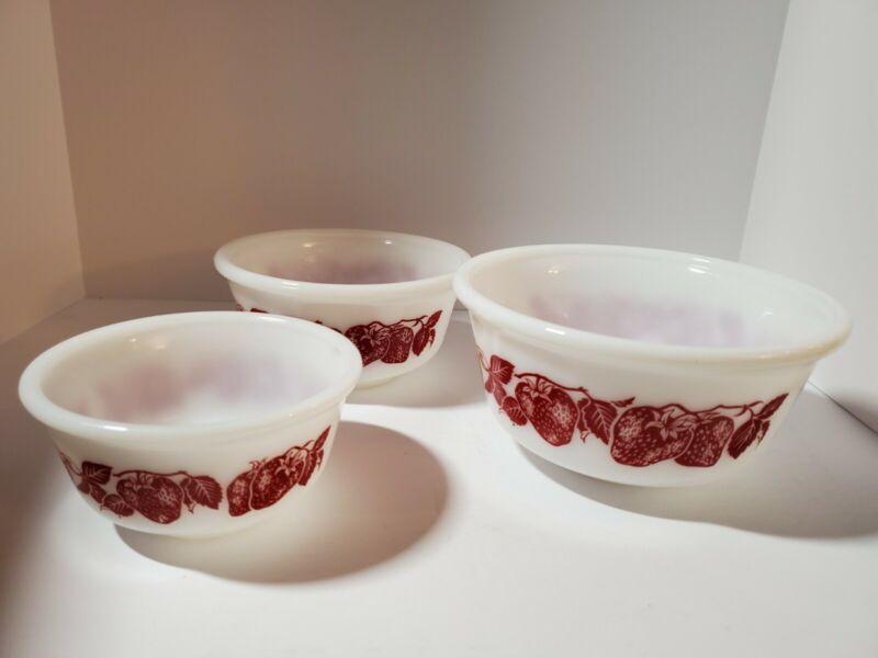Vintage Hazel Atlas Milk Glass Strawberry Bowl - Set of 3