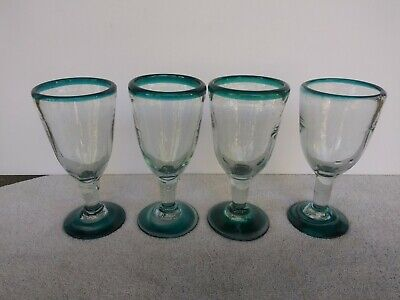 Mexican Hand Blown Wine Glasses Green Teal Rims Bases Glassware 6.25