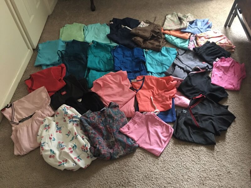 46 Piece Scrub Lot, Assorted Colors And Sizes. Pre-Owned.