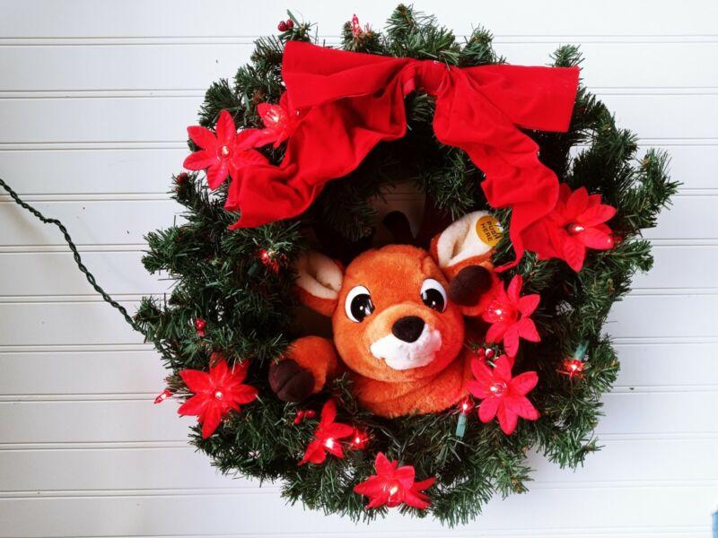 "Vintage 1997 CUSTOM Gemmy Animated Talking Reindeer Christmas Wreath Singing 15"""