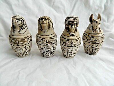 Egyptian Canopic Jars Set Large Resin Tan Engraved 4.5