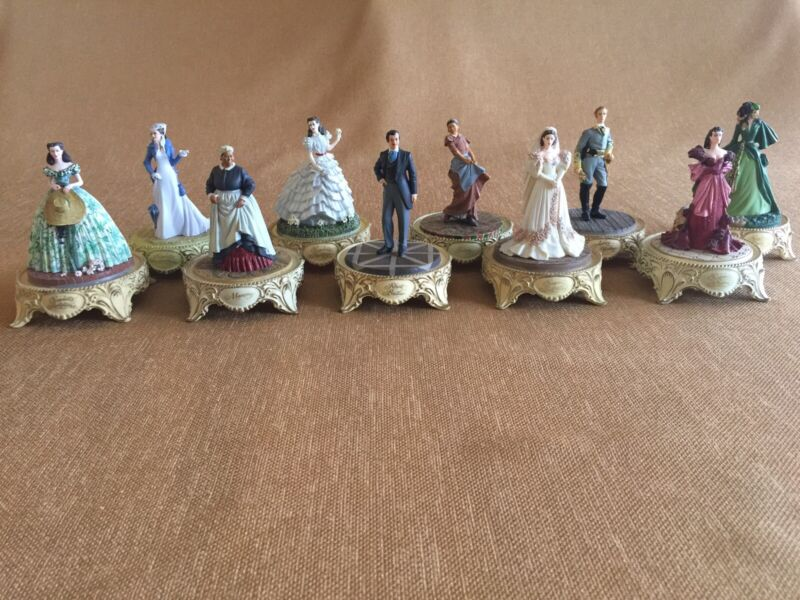 10 Gone With The Wind Figurines With Glass Domes COA Franklin Mint Turner Ent
