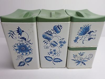 """Vintage """"RANSBURG """" METAL KITCHEN CANNISTERS - SET of (4) - BEAUTIFUL!"""