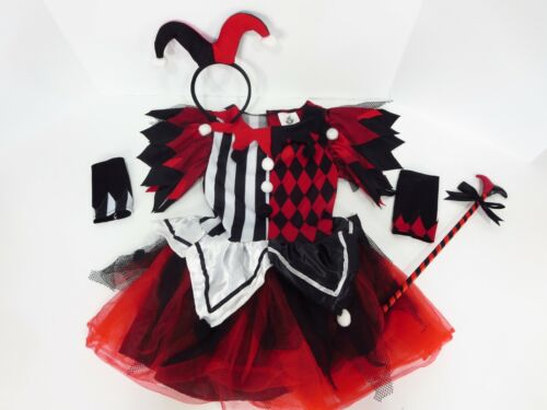 Harley Quinn Costume Dress Outfit Kid Size Small 4-6 Gloves DC Spirit Halloween