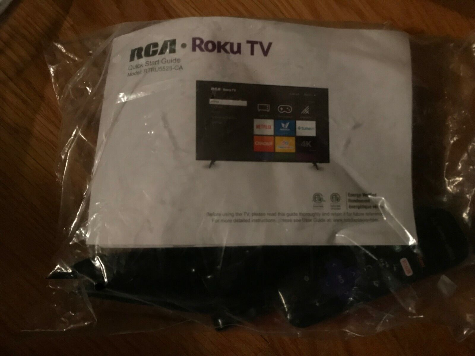 RCA Roku TV Remote RTRU5528-CA With Quick Start Guide Manual, Mounts and More