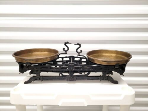 Antique 1900s Brass Cast Iron Scale with Weights Apothecary 10K