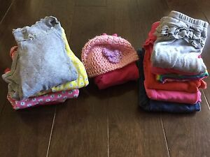 Long sleeves, pants, sweater and hat. 9-12m