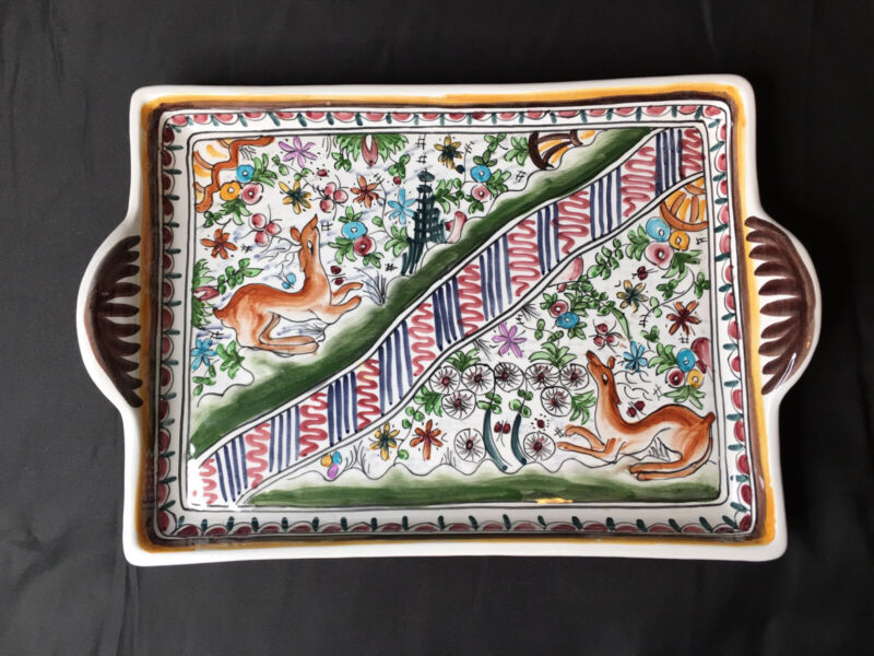 Ceramica Coimbra Portugal 110 SEC XVII Hand Painted Serving Tray