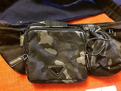 RARE, NEW WITH TAGS ORIGINAL PRADA NYLON WAIST-BAG TESSUTO CAMOUF. BLACK M/ITALY