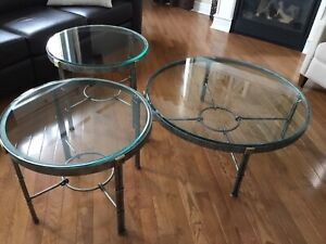 Wrought iron with Glass Top Coffee Table Set