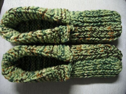 "Green Mix Adult Amish Handmade Slippers w/cuffs Wms XX Large Mans X Lg 11"""