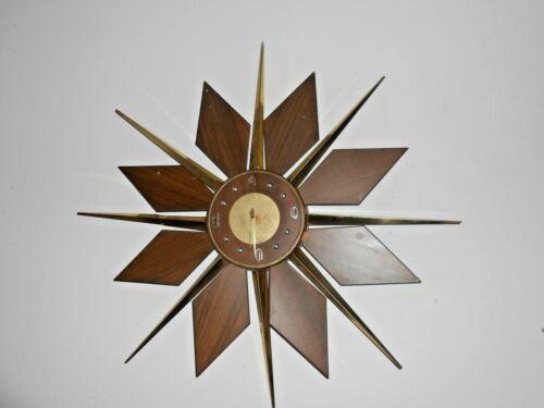 """Vtg Mid Century Star Burst Clock Eames Era Deco Walnut/Brass 31"""""""