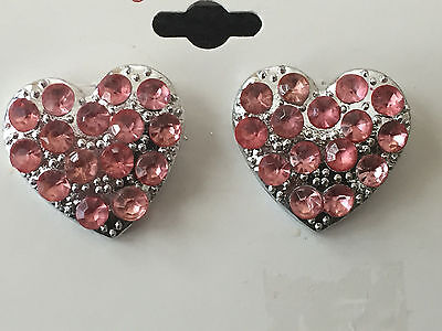 (WOMEN'S SILVER TONE PINK CRYSTAL HEART EARRINGS LARGE STUD VALENTINE'S DAY )