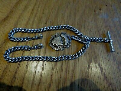 SOLID STERLING SILVER HALLMARKED 1920 DOUBLE ALBERT POCKET WATCH CHAIN 79grams