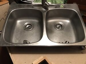 """Solid stainless steel kitchen sink. Double sink. 30"""""""