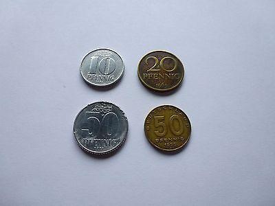 4 Münzen aus der DDR 10, 20, 50 Pfennig ()