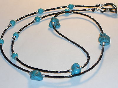 """Beaded Eyeglass Chain~Shiny Black Beads w/ Turquoise Accents~28"""" Buy 3 SHIP FREE"""