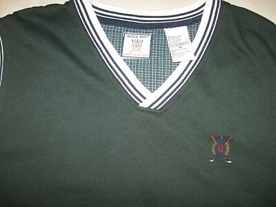 Bugle Boy Vintage Sweater Vest Men's XL Guys 90s Golf Classic Green