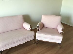 pink french provincial couch and arm chair