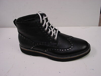 Hush Puppies Men's Bernard  Black Leather Wing Tip Chukka Lace Up Boots 9M NEW - Bernard Boots