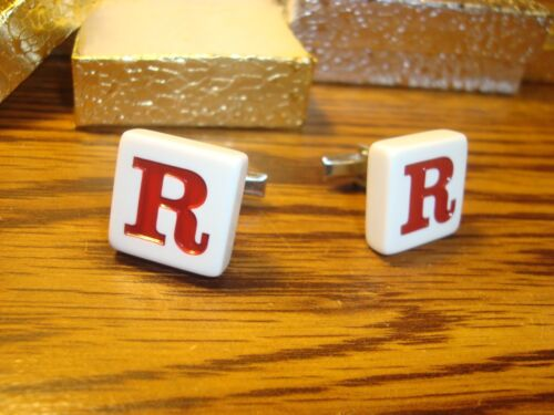 """"""" R """" Monogram Letter Initial SILVER Plated Cufflinks 1 Pair (Two)  Red/White"""