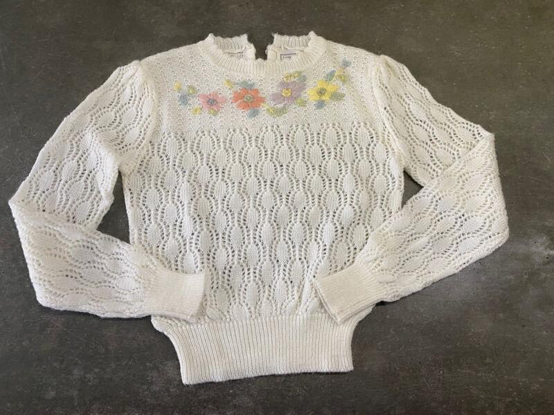 Vintage Bistro Medium Cream Open Knit Embroidered Cottagecore Sweater