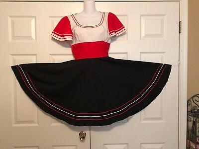 SQUARE DANCE DRESS 1 PC  RED & - Square Dance Kostüm