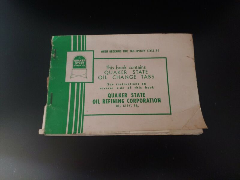 OLD QUAKER STATE OIL CHANGE TABS BOOK OIL CITY, PA.