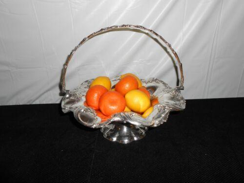Vintage Ornate~PEDESTAL BOWL FRUIT DISH BASKET w/ SWING HANDLE~Silver Plate