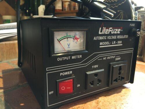LiteFuze Automatic Voltage Regulator/Converter Model LR-500 Excellent Condition